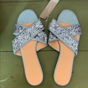 J.Crew Cora glitter sandal in ocean blue